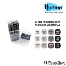 Alpha Design Twin Marker Warm Gray Set (Colours of 12)