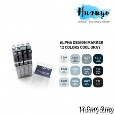 Alpha Design Twin Marker Cool Gray Set (Colours of 12)