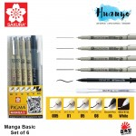 Sakura Pigma Manga Basic 6pcs Set (0.05/0.1/0.5/0.8mm/Brush/Gelly Roll White)