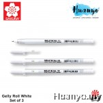 Sakura Gelly Roll White Gel Pens (0.5/0.8/1.0mm) - Set of 3