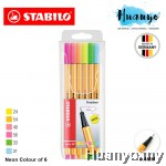 Stabilo Point 88 Fineliner Pen 0.4 mm - 6 Neon Wallet Set