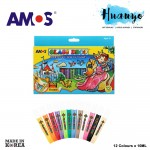 Amos Glass Deco Paint 10ML 12 Colours Set