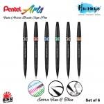 Pentel Brush Sign Pen Artist SESF30C Extra Fine and Soft (6 Colour Set)
