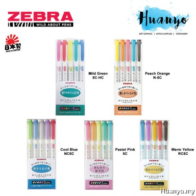 Zebra Mildliner Double Sided Twin Tip Highlighter Pen Set of 5