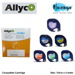 Allyco Dymo LetraTag Label Maker Cartridge Paper / Plastic Tape 12MM X 4M (Compatible Refill)
