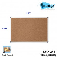Aluminium Frame Notice Bulletin Cork Board (1.5' X 2')