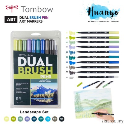 Tombow ABT Dual Tips Drawing & Calligraphy Brush Pen Pallete Colour Series With Blender (Set of 10)