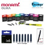 Monami Olika Fountain Pen Ink Cartridge 7 Pcs Refill Set (Per pack)