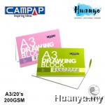 CAMPAP Drawing Paper Pad Block 200GSM A3 Size