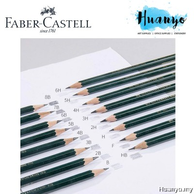 Faber-Castell 9000 Professional Drawing Sketching Graphite Pencils (Per pcs) [6H- 8B]