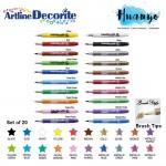 Artline Decorite Multi Surface Marker - Brush Tip [Set of 20]