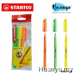 Stabilo Flash Slim Neon Highlighter Textliner Pen Value Pack (Set of 3)