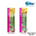 Acura Artist Nylon Brush Set of 6 (Flat/Round)