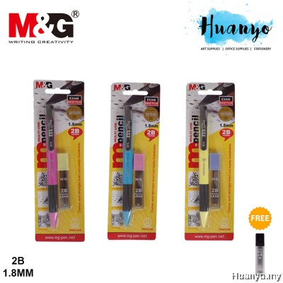 M&G Chisel / Khat Jawi Calligraphy Mechanical Pencil 2B 1.8mm (Free Pencil Leads)