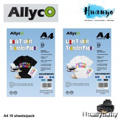 Allyco Light / Dark T-Shirt Fabric Transfer Paper A4 - 10 Sheets/Pack