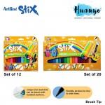 Artline Stix Calligraphy Brush Marker Pen 12 / 20 Colour Value Set
