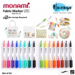 Monami Fabric Brush Tip Marker Pen (Set of 24) [No Ironing Required]