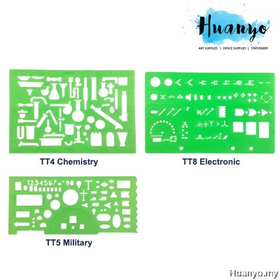 Technical Geometry Design Template Ruler Stencil (Cirlcle, Eclipse, Architect, Chemistry, Electronic, Military))
