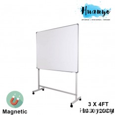 Magnetic White Board 3' X 4' (90 x 120CM) With Mobile Metal Stand and Movable Wheels