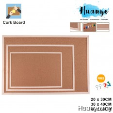 Sanko Star Wooden Frame Notice Bulletin Cork Board (20 x 30 / 30 x 40 /40 x 60 CM)