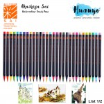 Akashiya Sai Japan Artist Water Colour Drawing Calligraphy Fude Brush Pen 30 Colours (List 1/2) [Per pcs]