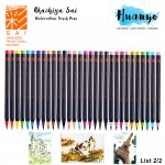 Akashiya Sai Japan Artist Water Colour Drawing Calligraphy Fude Brush Pen 30 Colours (List 2/2) [Per pcs]