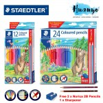 Staedtler Thailand Premium Luna Colour Pencil ( 12 / 24 Colours Long) [Free Sharpener and 2B Pencil]