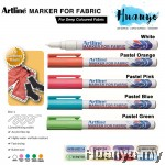 Artline White & Pastel Colour Fabric Shirt Marker For Dark Colored Fabric (1.2MM Bullet Tip)