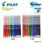 Pilot Frixion Ball Knock Retractable Erasable Ink Gel Pen (Set of 10, 0.5 / 0.7 MM)