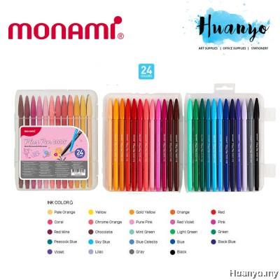 Monami Plus Pen 3000 Fineliner Flexible Felt Brush Tip 0.4MM [Set of 24 / 36 / 48]