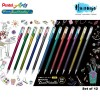 Pentel Hybrid Dual Metallic Glitter Colour Gel Pen 1.0MM (Set of 12)