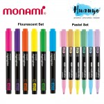 Monami Flourescent & Pastel Colour Highlighter Textliner Pen 601 (Set of 6)