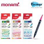 Monami Calligraphy Drawing Colour Twin Tip Brush Pen  (Set of 6: Sea, Flower, Forest)