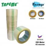 TapeMe Packaging Transparent Clear OPP BOPP Tape 48MM x 200 Meter (Per Pcs)