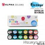 Alpha Poster Colour (Set of 12 Colors, 15ML Bottle)