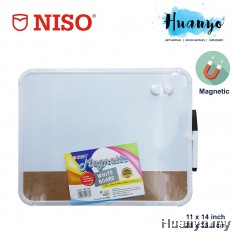 NISO Portable Thin Magnetic White Board With Cork Board (11 x 14 inch / 28cm x 35.5cm)