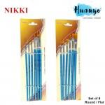 Nikki Artist Nylon Brush Set of 6 / 9 (Flat / Round)
