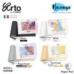 Campap Arto Fabriano Soft Pastel Colour Paper Pad A4 160GSM/24 Sheets (Black, White, Bright, Soft Colour)
