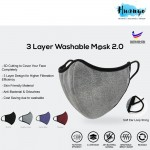 Micro Fiber Reusable Washable 3 Layer Fabric Face Mask 2.0 (Adult & Kid Size | Skin Friendly Material | Breathable / Breath Easier)