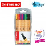 [Free Online Art Journaling Class worth RM 75] Stabilo Point 88 Fineliner Marker Pen 0.4 mm - 10 Color Wallet Set