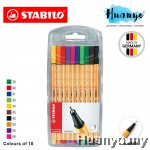 Stabilo Point 88 Fineliner Marker Pen 0.4 mm - 10 Color Wallet Set