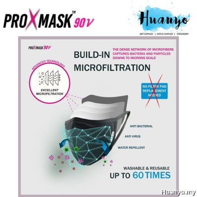 (2pcs / Pack) ProXmask 90V 5 Layer Anti Virus Breathable Reusable Washable Fabric 3D Face Mask (Microfiltration (BFE) | Anti-Microbial | Water Repellent | Up to 60 Washes | Easy to Breathe | Skin Friendly)