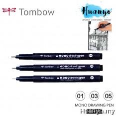 Tombow Mono Technical Drawing Sketching Pen Black Ink (No. 01 / 03 / 05, Per Pcs / Set of 3)