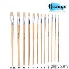 Fortune Artist Hog Bristle Painting Brush 579L Flat Tip (Non Halal) [Per Pcs]