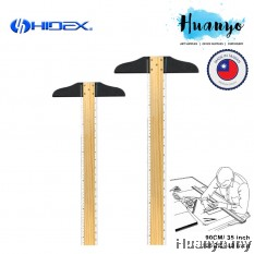 Hidex Wooden Double Side T Square Ruler  (90cm,35 inch / 105cm,40 inch - CM / Inch Reading)