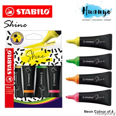 Stabilo Boss Shine Fluorescent Neon Colour Textliner Pen (Set of 4, Chisel Tip 2- 5mm)