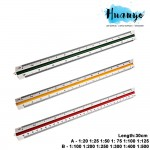 High Precision Technical Drawing Triangular Scale Ruler 30cm (A - 1:20 1:25 1:50 1: 75 1:100 1:125, B - 1:100 1:200 1:250 1:300 1:400 1:500)
