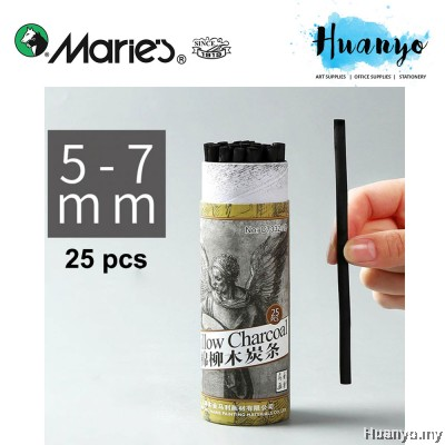 Marie's Natural Soft Willow Charcoal Stick 25pcs/Tube Set (Diameter:2-4MM / 4-5MM / 5-7MM / 7-9MM, Length: 135mm)