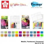 Sakura Koi Half Pan Water Colours Pocket Field Sketch Box Metallic Pearlescent Fluorescent Colour Set (CAC Set of 12 / 24 Colors)