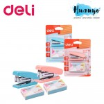 Deli Pastel Colour Pocket Size Mini Stapler & Staples Set (Pastel Blue & Pink)